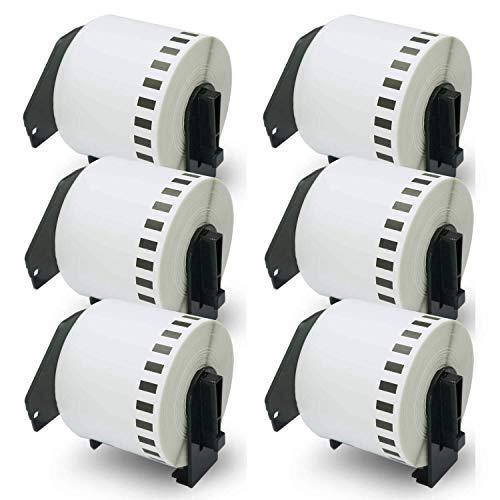 Yongenee Compatible for DK-2205 Continua Longitud 2-3/7 Pulgadas x 100 Pulgadas (62mm x 30.48m) Etiquetas de reemplazo, Compatible for impresoras de Etiquetas QL (6 Rollos con el Marco Recargable Ca