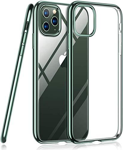 TORRAS Crystal Clear Kompatibel mit iPhone 11 Pro Max Hülle [Vergilbungsfrei & Dünn] Weiche Silikon Clear iPhone 11 Pro Max Case Stoßfest Handyhülle für iPhone 11 Pro Max [6,5 Zoll] (Dunkelgrün)