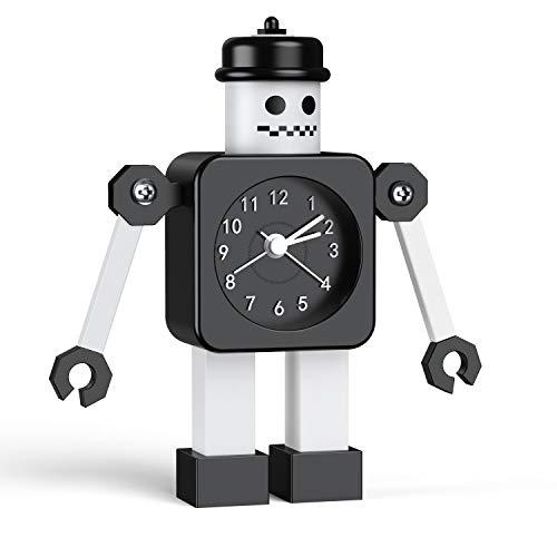 Kinderwecker Jungen, Roboter Wecker Kinder Analoge Wecker Ohne Ticken Lautloser Wecker für Jungs Mädchen Jungen (schwarz-01)