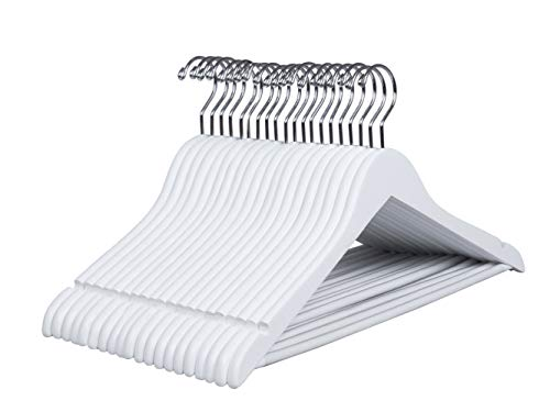 Amber Home 20 Unidades 44,5cm Perchas de Madera Blanco, Robusta y Brillante Percha para Camisetas Camisas Trajes Abrigos Vestidos Tirantes Bodas, con Varilla y Ranuras