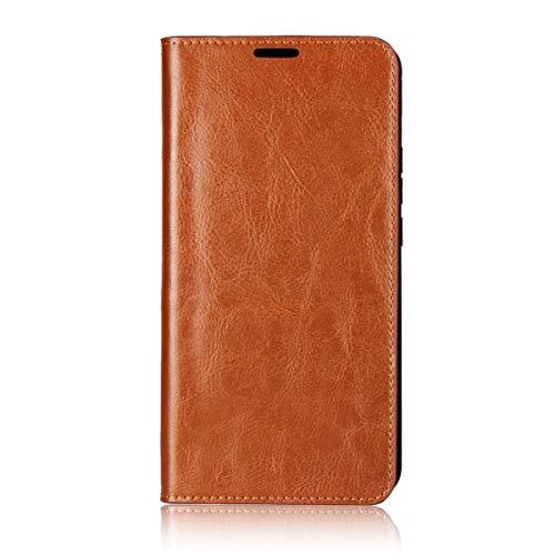 Sunrive Für Xiaomi Mi MAX 3, Echt-Ledertasche Schutzhülle Hülle Standfunktion Flip Lederhülle Hülle Handyhülle Schalen Kreditkarte Handy Tasche(Braun gelb)+Gratis Universal Eingabestift