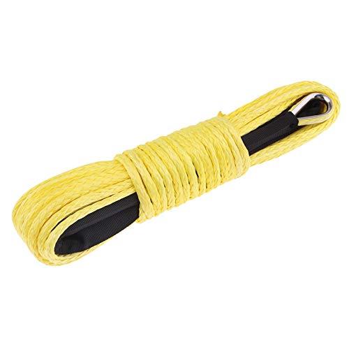 SunniMix Cuerda de Cable de línea de cabrestante sintético de 1/4 Pulgadas x 50 pies 7700LBs con Vaina para ATV UTV, Uso múltiple - Amarillo