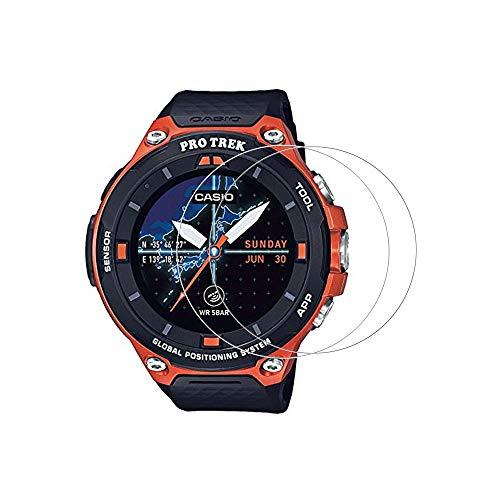 Zshion - Pellicola protettiva per schermo CASIO Pro Trek WSD-F30, durezza 9H, in vetro temperato, per CASIO WSD F30, con anti-impronte digitali, trasparente, confezione da 2