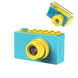 Kriogor Macchina Fotografica Bambini, Impermeabile Fotocamere Digitali Subacquea, Regalo di Compleanno per Bambino, 1080P Videocamera / 8 Megapixel/ LCD da 2 Pollici /Scheda TF da 256M (Blu)