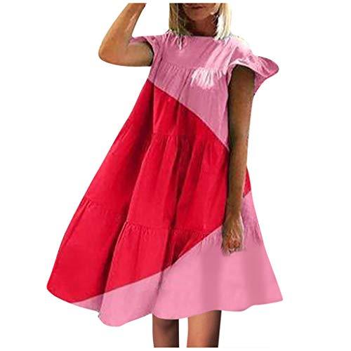 Damen Sommerkleid, Frauen Geometrische Kontrastfarbe NäHte Kleid Locker LäSsig Rundhals-Strandrock Blusenkleid Hemdkleid Shirt Kleid Vintage-Midikleid