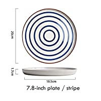 JJKEDW 7.8インチ食器ラウンドサービングプレートパスタステーキディナープレート電子レンジセラミックキッチン用品 (Style : 2)
