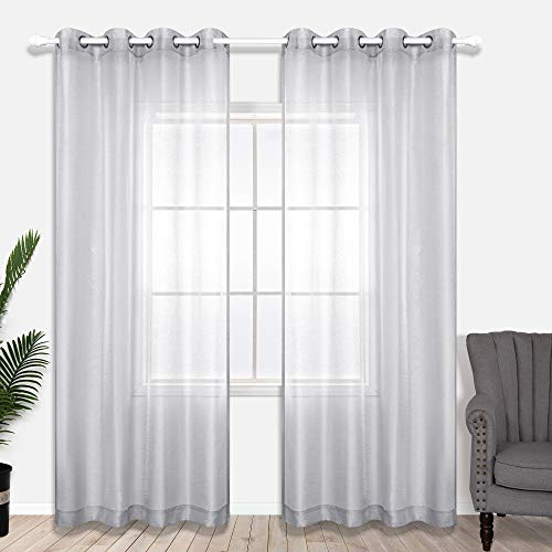 Silver Curtains 96 Inches Long for Bedroom 2 Panels Set Grommet Sheer Window Curtains for Living Room 52x96 Inch Length