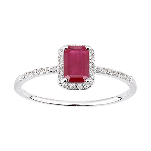 Naava Women's 18ct White Gold Ruby and Diamond Gemstone Ring - Size P