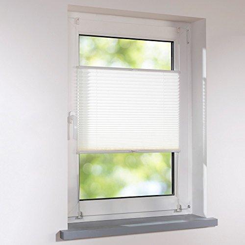 Plissee 80 x 220 cm weiß verspannt Klemmfix ohne Bohren Faltrollo Raffrollo Sonnen- & Sichtschutz
