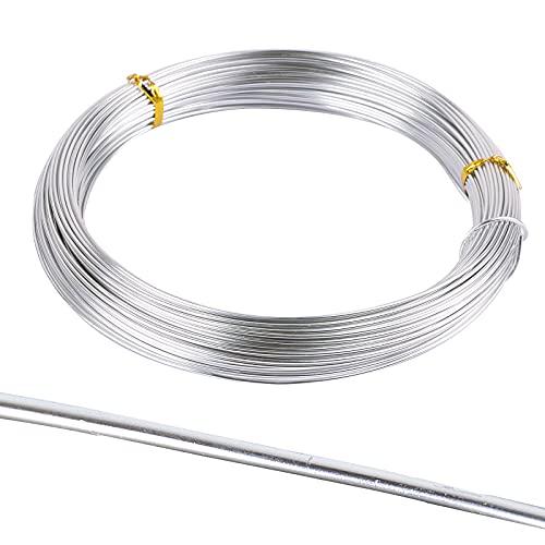 BHGT 50m Basteldraht 1,5mm Schmuckdraht Aludraht Dekodraht Aluminiumdraht für Schmuck Handwerk farbigen Aluminium Craft Draht Silbern