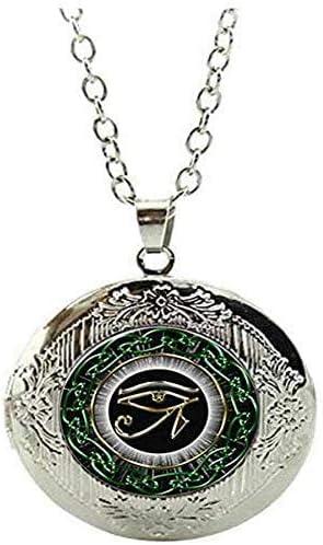 Egytian Black Eye of Horus Locket Necklace Vintage Charm Art Picture Jewelry