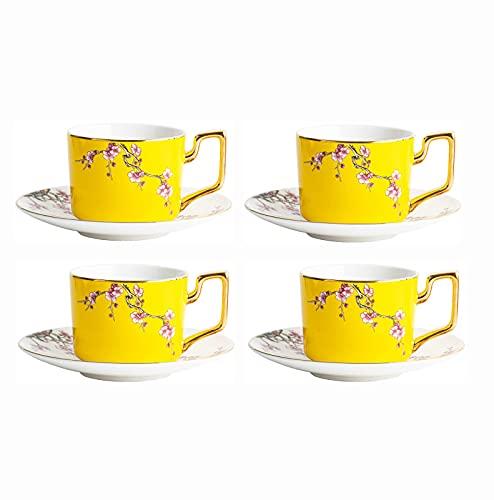 FHISD Juego de té de Porcelana de 8 Piezas Juego de Tazas y platillo de café Juego de Tazas de café Juego de Tazas de Capuchino Amarillo Vintage con cucharas 220ml