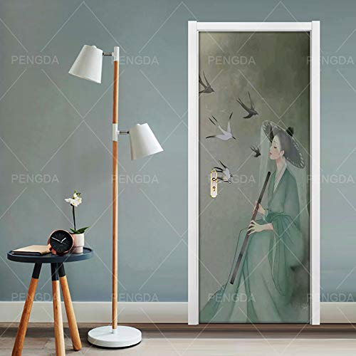 Vinyl deur muur muurschildering deur behang 77X200Cm meisje vogel in oude kostuum 3D deuren Refurbish zelfklevende decoratieve waterdichte muur Stickers voor slaapkamer wc thuis décor 77x200cm
