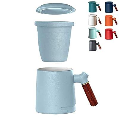 BRM Stoneware tea mug 13.5-oz. Tea Mug with Infuser and Lid ceramic tea cup with infuser and lid, wooden handle (Turquoise-R)