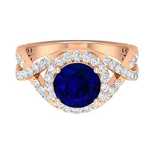 Anillo de halo solitario, piedras preciosas redondas de 3,25 quilates, diamante HI-SI 8 mm, anillo de compromiso creado por laboratorio, anillo de vástago espiral, 14K Oro rosa, Size:EU 67
