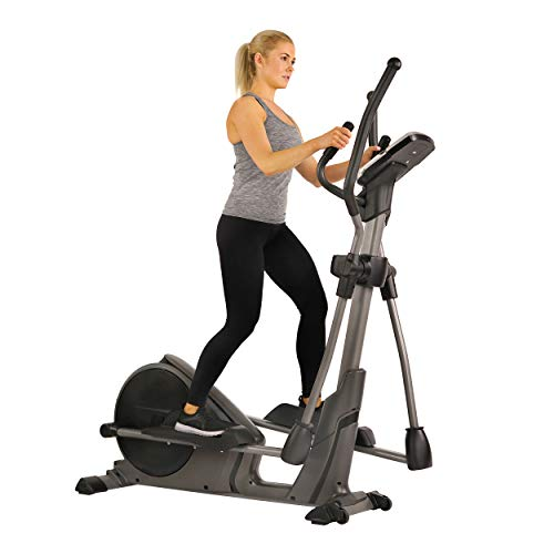 Sunny Health & Fitness Magnetic Elliptical Trainer Machine w/Device Holder, Programmable Monitor and Heart Rate Monitoring, 330 LB Max Weight - SF-E3912