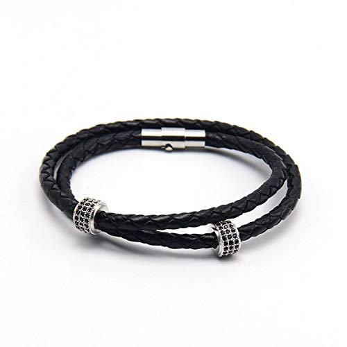 Bracelets Pulsera de Manguito Negro y marrón Trenzado clásico con Corchete Tumba magnética Pulsera de Cuero para Hombre (Color : White)