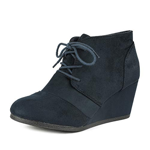 DREAM PAIRS TOMSON Women's Casual Fashion Outdoor Lace Up Low Wedge Heel Booties Shoes NAVY 11 B(M) US