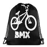 Elsaone Silueta de Bicicleta Mochila con cordón Bolsa Mochila Deportiva para Gimnasio 36 x 43 cm / 14 x 17 Pulgadas