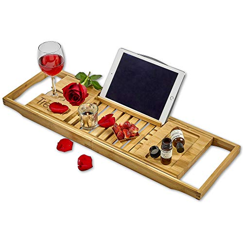 Luxury Bathtub Tray Caddy - Extendable Bamboo Wood Bath Caddy with Adjustable Book, iPad or Kindle Reading Rack - Wine Glass Holder - Cellphone or Tablet Slot