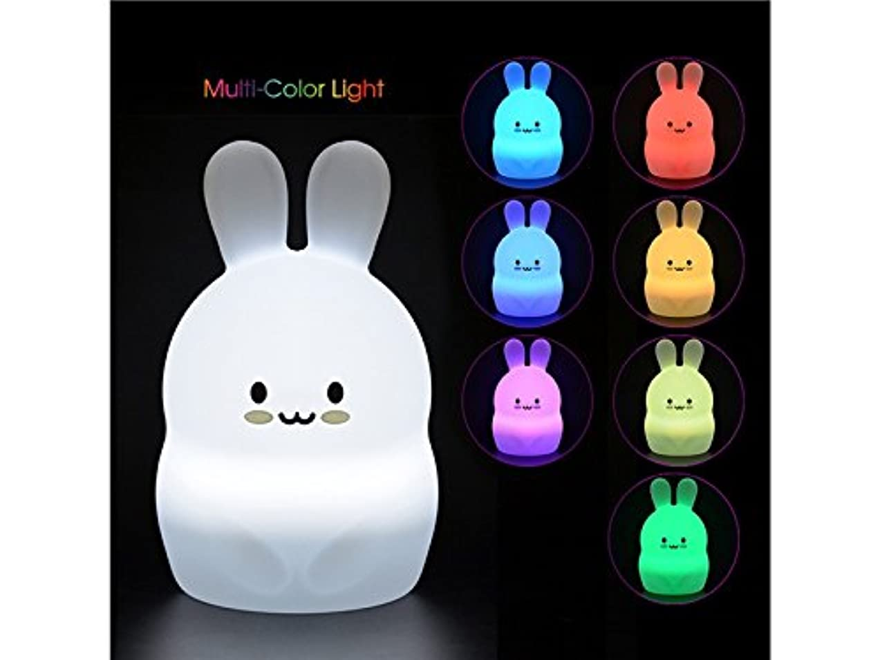 Junson Laptop Lamp Children Silicone Rubbit Lamp Multi-Coloured LED Lamp USB Rechargeable with Remote for Children Bedroom Reading Lamp