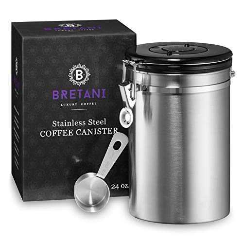 Bretani 24 oz. Stainless Steel Coffee Canister & Scoop Set - Large Airtight Kitchen Storage Container for Storing Beans & Grounds - Silver