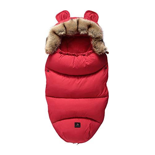 Fußsäcke für Kinderwagen Universal Winter Warm Wasserdicht Winddicht Waschbar Baby Schlafsäcke für Kinderwagen, Autositz, Sportwagen, Buggy, Babyschale (Rot)