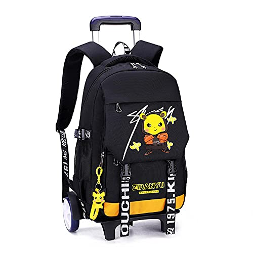 JKHN Zaino con rotelle 6 Ruote Trolley Bag Ragazzi Ragazze Zaini da Scuola con Ruote Impermeabili Zaini Casual di Grande capacità per 6-12 Anni B- Big Wheel