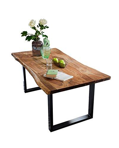 SAM Esszimmertisch mit Baumkante, massives Akazienholz, Nussbaumfarben / schwarzes Gestell, 180 x 90 x 77 cm