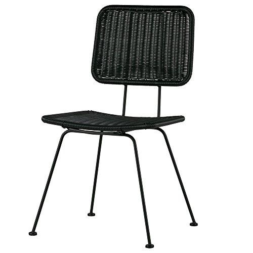 De Eekhoorn 2er Set Stuhl Hilde Kunstrattan Esszimmerstuhl Küchenstuhl Lehnstuhl Wartezimmer (Schwarz)