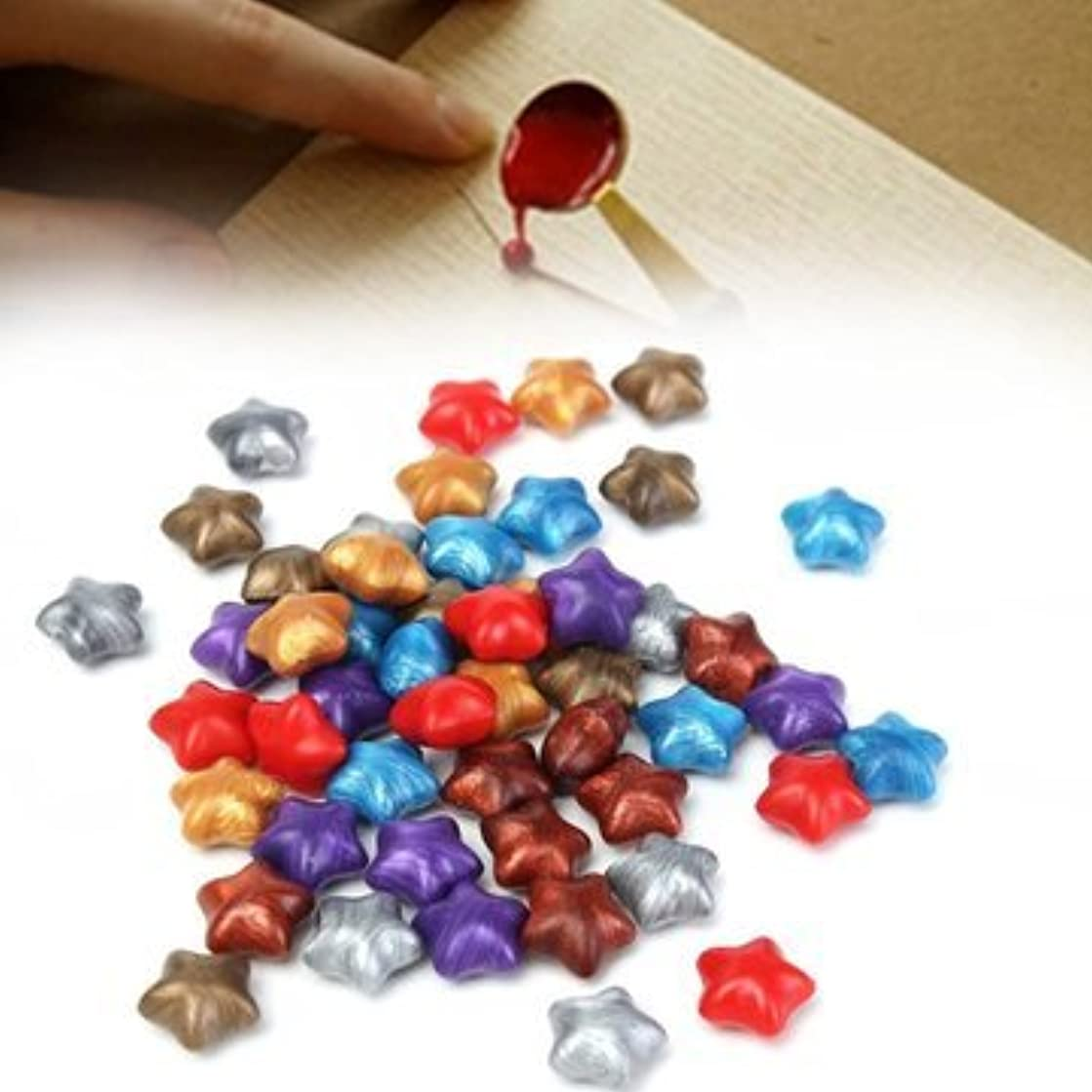 50Pcs Mixed Color Star Wax Seal Ring Pentagram Stamp Accessories - DIY Jewelry Findings & Components