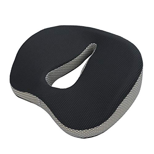 Queiting Memory Foam Seat Cushion Coccyx Cushion Ergonomic Breathable Seat Pad Support Cushion with Detachble Covers for Car Office Chair, Wheelchair, Recliner, Desk Chairs