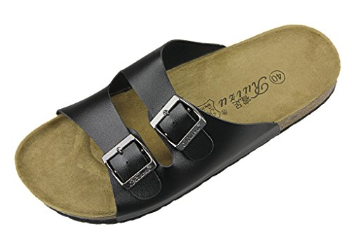 Unisex Couple's Summer Beach Slippers, Comfort Leather Flat Sandals Slip-on Anti-Skid Flip Flops Soft Wood Sole Footed Keen Slippers Athletic Sandals Footwear Clog Shoes Black
