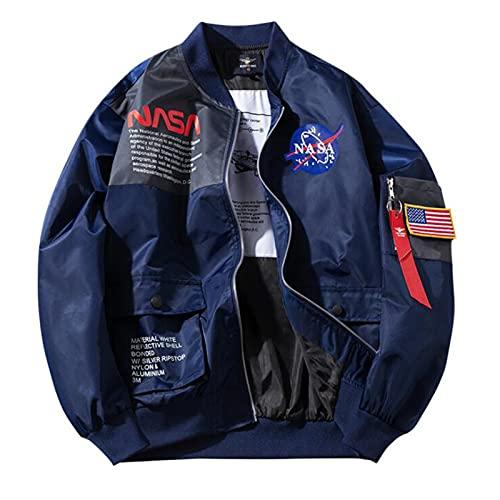 GLYIG Blouson aviateur léger pour Hommes Veste NASA Coupe-Vent Manteau Softshell Outwear, Manteaux rembourrés Chauds à glissière complète (Color : Blue, Taille : 3XL)