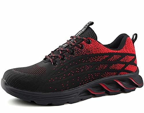 [ブルーポメロ] 安全靴 あんぜん靴 作業靴 メンズ レディース 軽量 通気性 鋼先芯JIS H級相当 KEVLARミッドソール 耐摩耗 クッション性 オシャレ 9017レッド 26.5