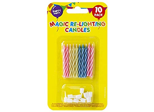 Fun Magic re Lighting Candles Pack of 10 Candy Stripe Classic Birthday Cake Candles with Holders