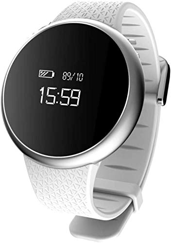 Reloj inteligente deportivo resistente al agua con pantalla grande, monitor de ritmo cardíaco, contador de calorías, SMS y SNS Recordatorio de llamadas tomar foto blanca