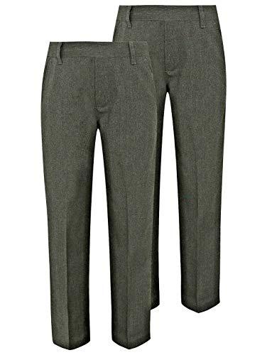 Integriti Schoolwear 2PK Boys School Trousers Comfort Fit Black Charcoal Grey Navy Blue Elasitcated Waist Age 3-16 Years