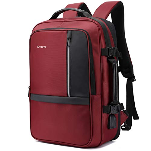 Xnuoyo 17.3 Zoll Anti-Diebstahl Laptop Rucksäcke TSA Freundlich mit USB Ladeanschluss und Headphone Port Wasserdicht Messenger Bag Handgepäck Laptoptasche für Herren Business Schultasche (Dunkelrot)