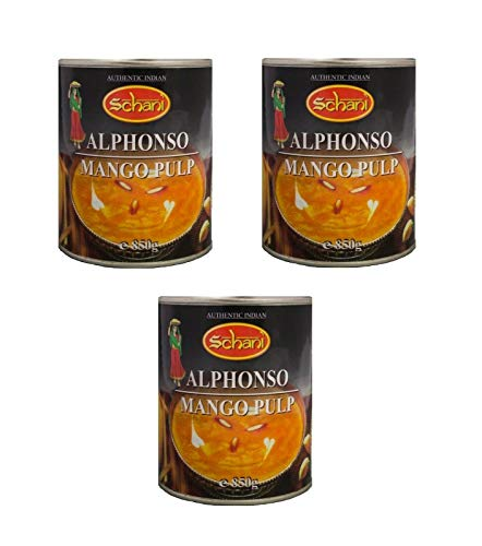 Dreierpack: 3 x 850g Alphonso Mango Pulp Mangopürree Mangomus Mangopüree Dessert