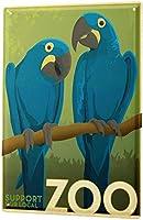 鳥種青コンゴウインコ動物園Zu Besuch-ノスタルジックなブリキ看板レトロブリキ壁金属壁板バーポスター看板