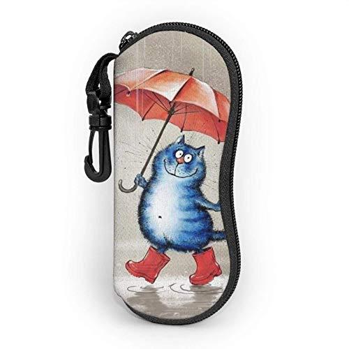 AEMAPE Divertido gato sandía paraguas lluvia funda para gafas para mujeres y hombres gafas de sol portátiles funda blanda con mosquetón