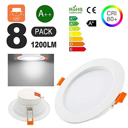 COMY Placa Circular LED De Techo 12W AC 110V-240V Equivalente A 120W, Downlight Empotrable De 1200 Lúmenes, Blanco Frío 6000K, Transformador Incluido.Pack De 8 Unidades,110v~130v