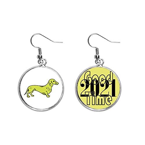 Dibujos animados perro amarillo ilustración patrón pendientes oído colgantes joyería 2021 buena suerte