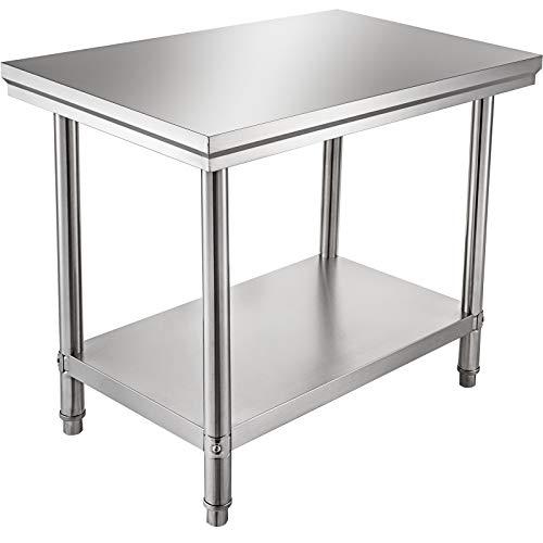 VEVOR 60 x 76 x 80cm Piano di Lavoro per Cucina Professionale Acciaio Inox, Tavolo da Lavoro da Cucina Piano di Lavoro Inox, Tavolo da Lavoro per Cucina Professionale in Acciaio Inox con Baclsplash