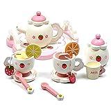 FANGNVREN Servizi da tè per Ragazze, Cucina Giocattolo per Bambini da tè in Legno Ben Confezionato Il Miglior Regalo per Bambine E Giochi di Vestire in Cucina per Bambini