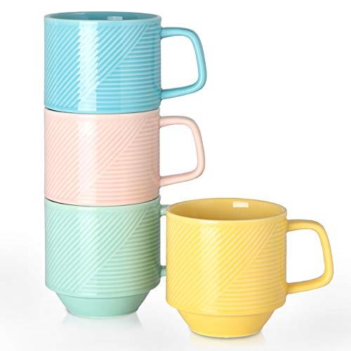 Adewnest Stackable Coffee Mugs Set: 15 Ounce Large Stacking Ceramic Mugs Set for Coffee Mocha Latte...