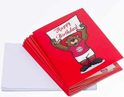 Bayern MÜNCHEN kompatibel 10er-Set Einladungskarte Berni FCB + Sticker München Forever, Karte, Geschenkkarte, Glückwunschkarte
