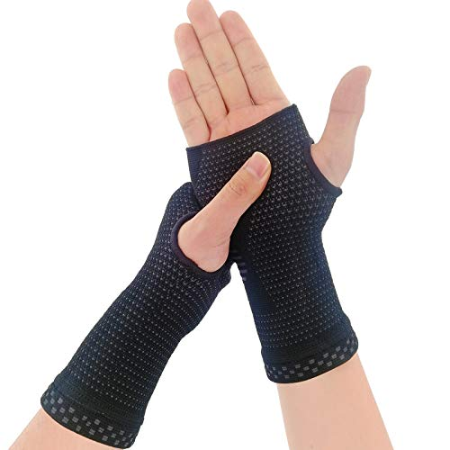NOVAYARD Compression Gloves Carpal Tunnel for Women&Men Hand Brace Wrist Support Sleeves Pain Relief (Black, Large)
