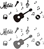 Music Wall Decal Quote Guitar Sticker Music Musical Notes Removable Vinyl Wall Decal Home Décor Music Studio Decoration